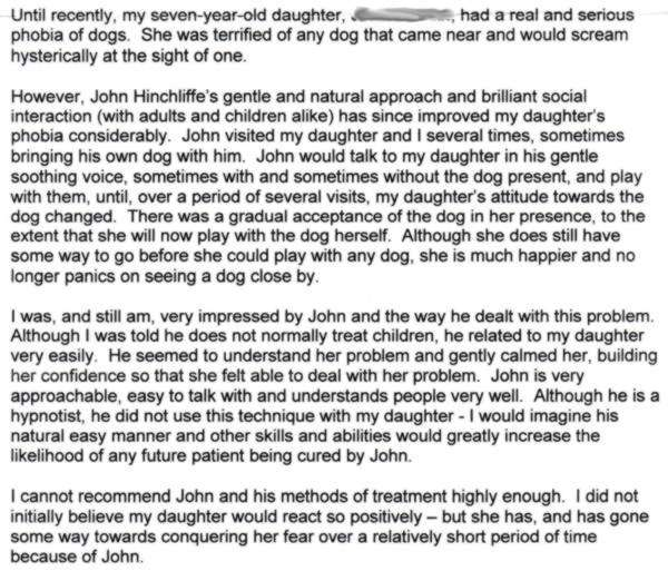 Dog Phobia Testimonial for hypnotherapist Jon Hinchliffe